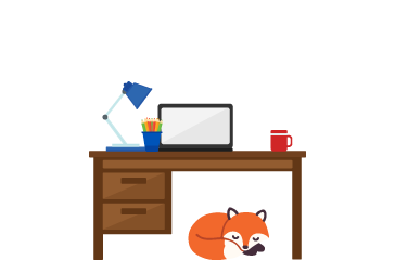 Foxy curled up sleeping under a desk