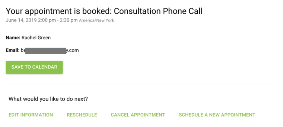 Screen shot of an appointment booking confirmation screen