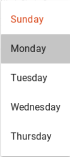 Screen shot of the days of the week options
