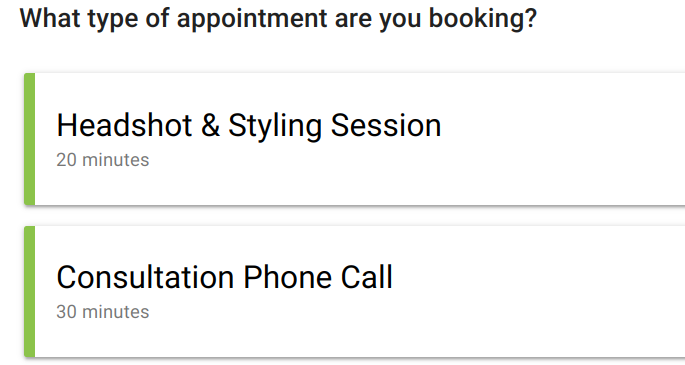 Screen shot of appointment types that can be selected