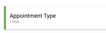 appointment duration shown under appointment type name