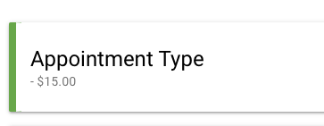 dash before the payment amount and appointment duration hidden