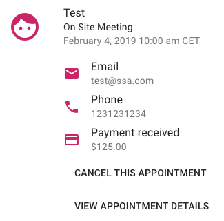 Screen shot showing customer information for an appointment and confirming payment