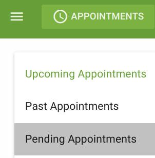 Screen shot of the option to show pending appointments