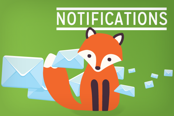 Notificiations showig foxy with flying envelopes