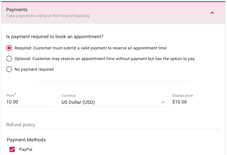 Screenshot of appointment type payment settings with PayPal enabled