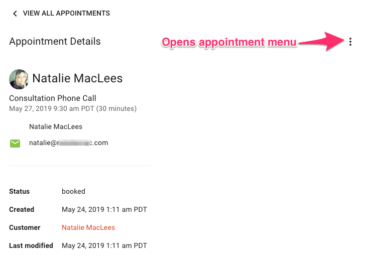 Screen shot of the appointment detail view with an arrow pointing at the dots icon that opens the appointment menu