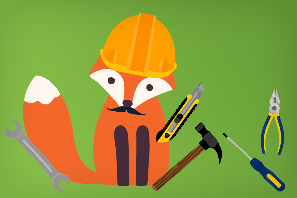 Foxy in a hard hat with lots of tools - he's a handy man (fox)