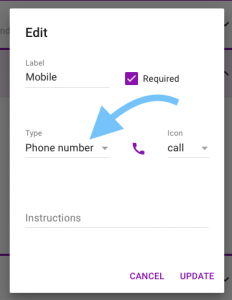 Screen shot of the customer information field showing the phone number type selected
