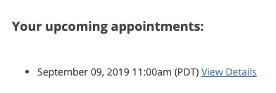 Screenshot of upcoming appointment list