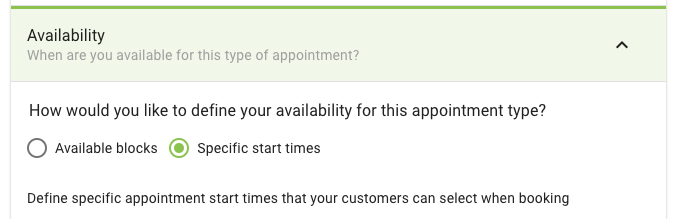 Screen shot of the new availability type setting for an appointment type