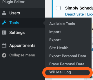 Find WP Mail Log Under the WordPress Dashboard Tools