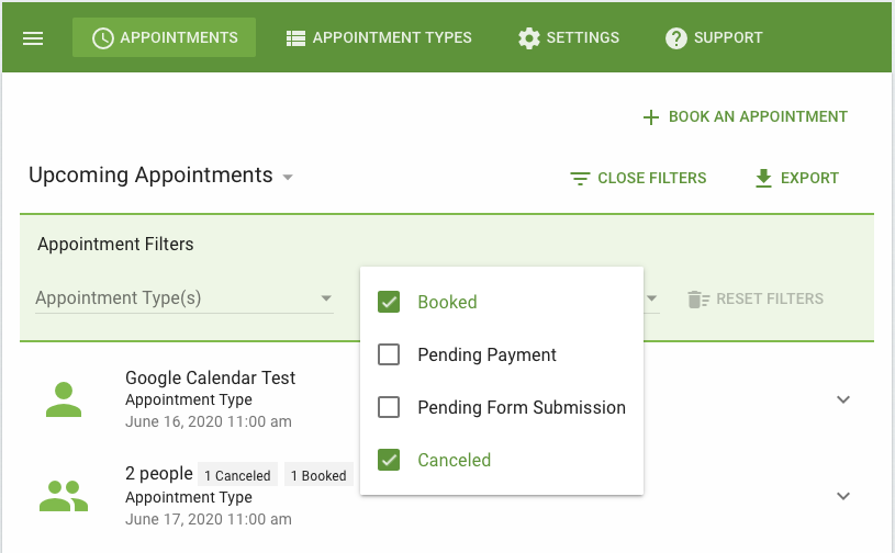 Appointment tab filters that affect Visible Appointments