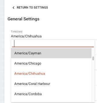 SSA timezone settings
