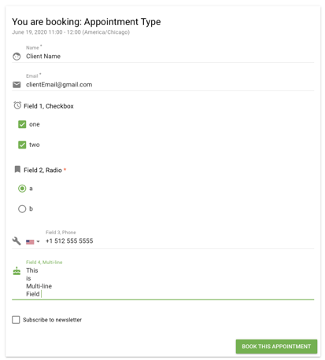 booking form  - appointment type