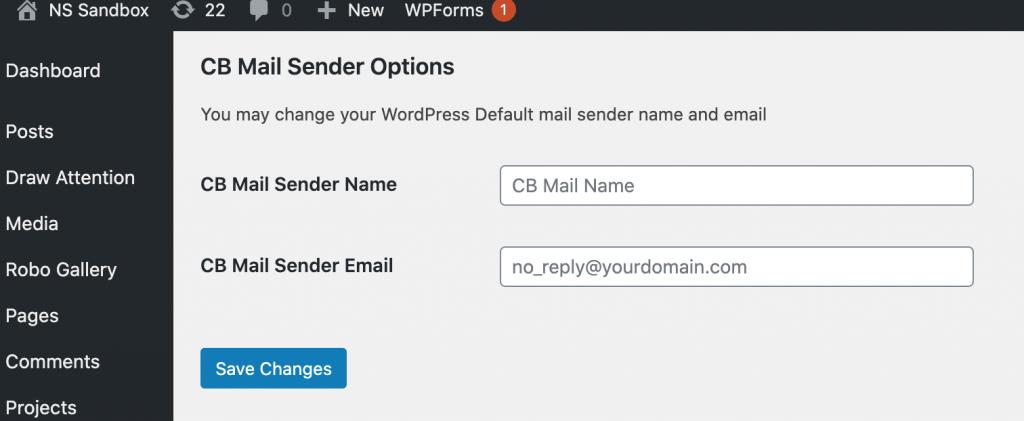 sender name and address change using CB Change Mail Sender plugin