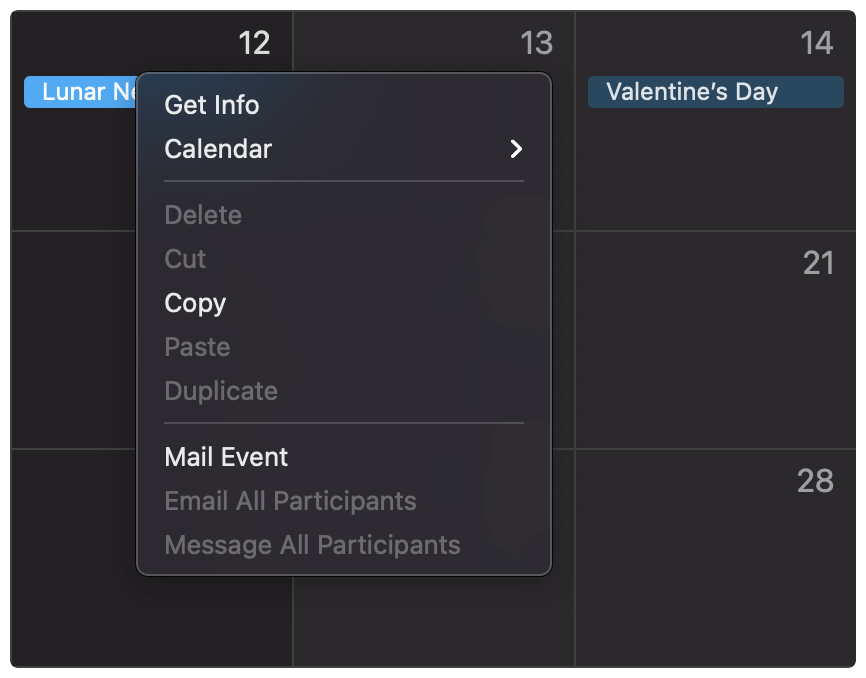 Mailing an event in Apple Calendar.