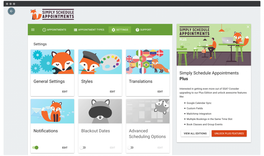 The Simply Schedule Appointments dashboard.
