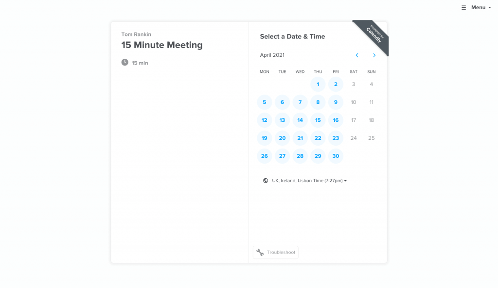 A Calendly booking page.