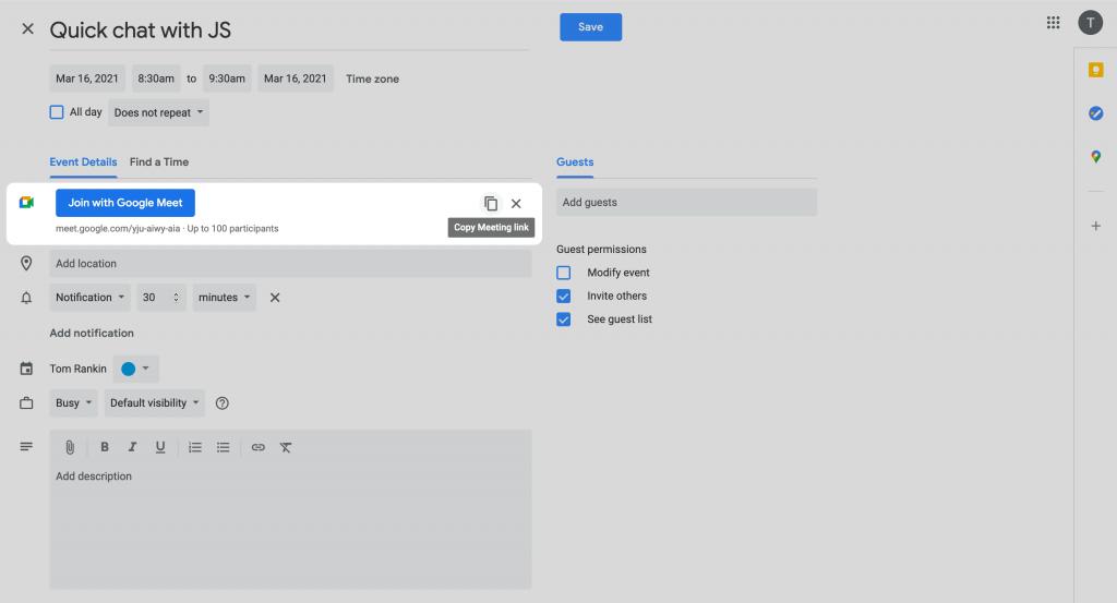 The Google Calendar creation screen.
