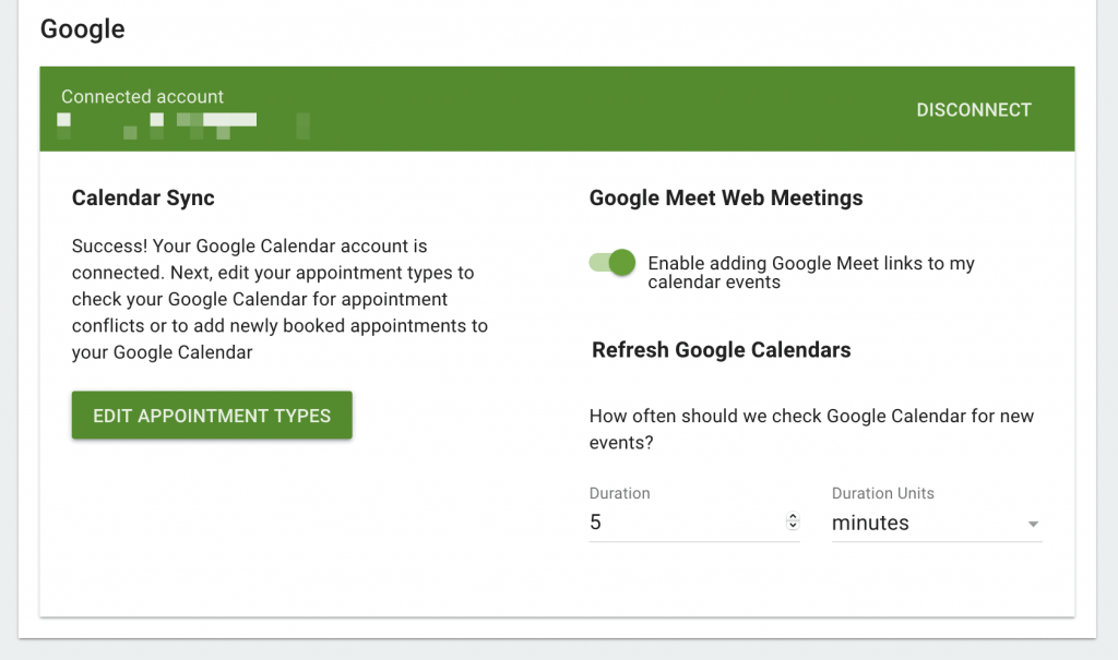 The Google screen in Simply Schedule Appointments.