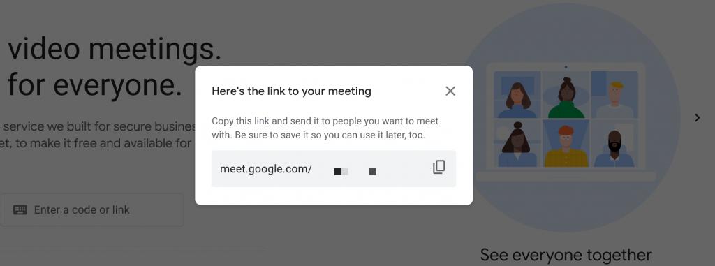 A Google Meet URL.