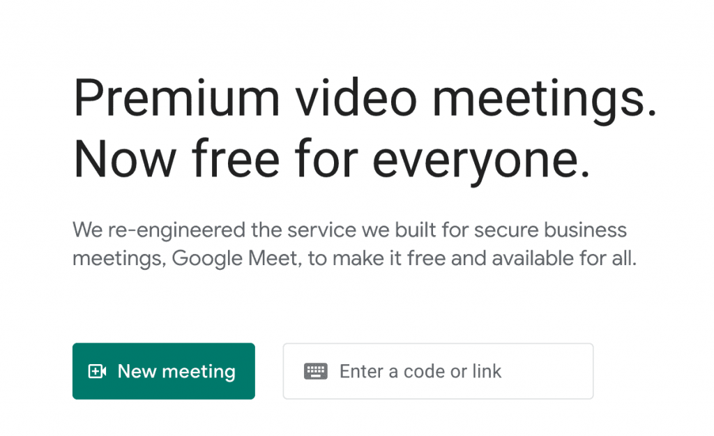 Google Meet's home page options.