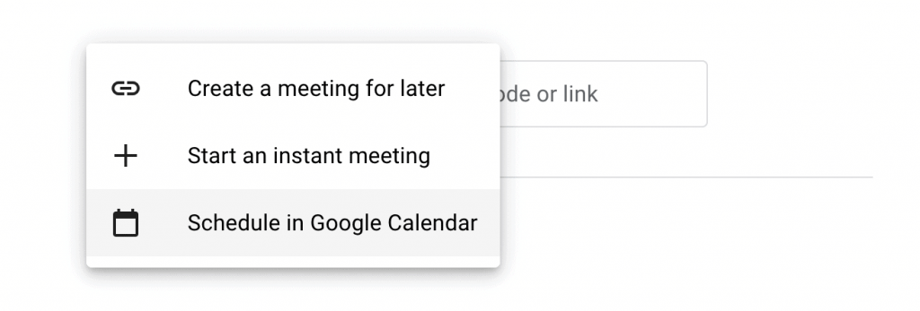 The options for setting up a Google Meet.