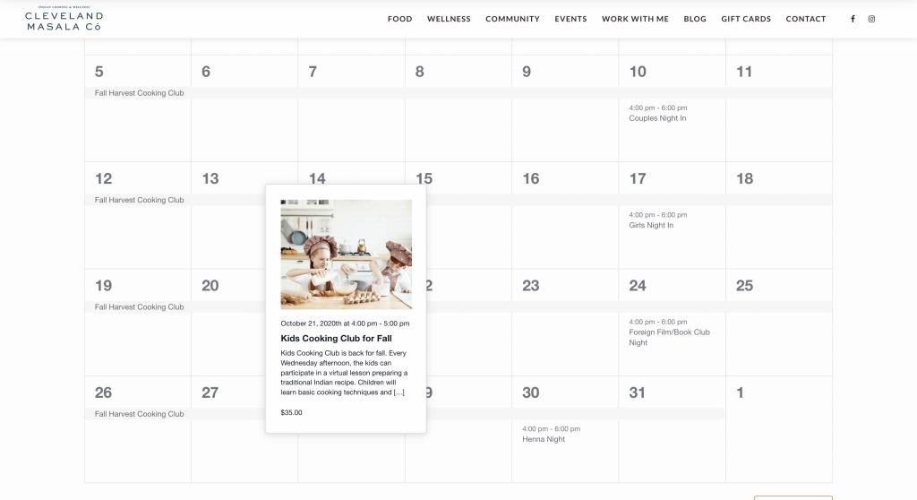 An example of a calendar entry.