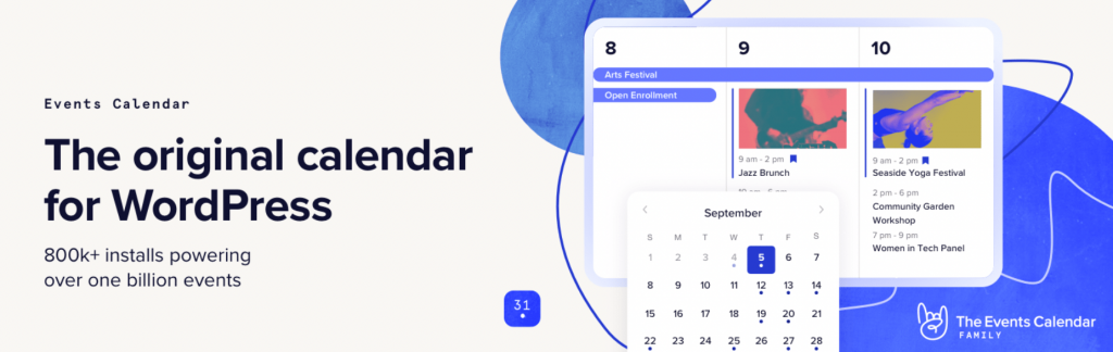 The Events Calendar plugin.