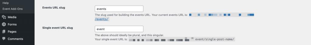 Changing the events slug in WordPress.