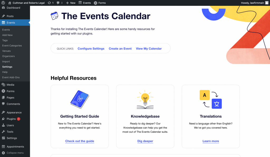 The Events Calendar's Welcome screen.
