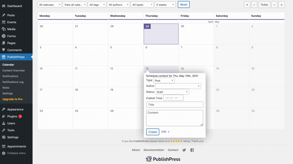 The Content Calendar in PublishPress.
