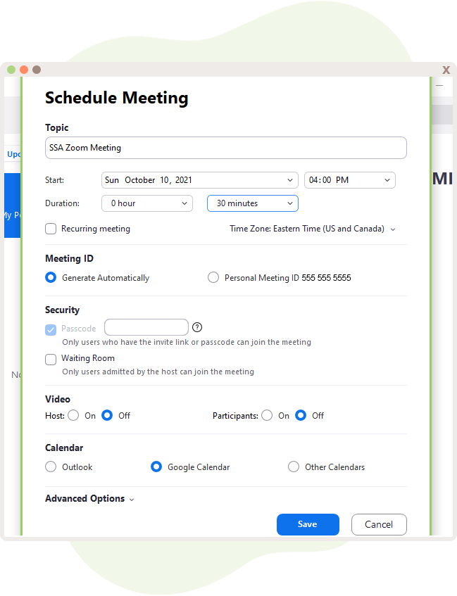 Schedule a Meeting within Zoom