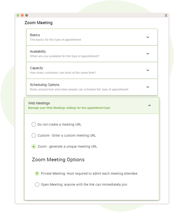 Zoom Web Meeting Creation and Options