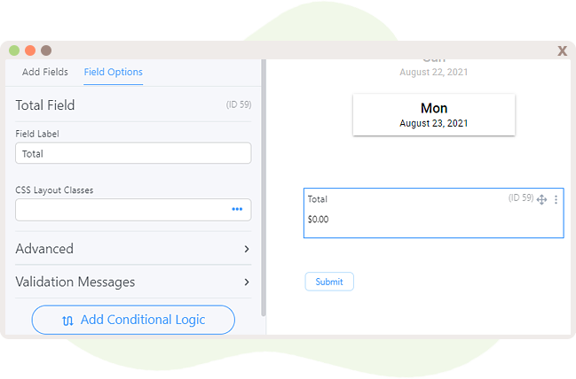 Add Total field to the form to calculate the cost of the appointment booking.