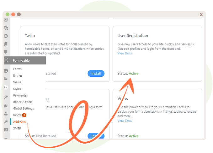 Add-Ons leads to User Registration