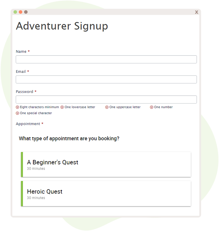Formidable Forms Appointment Booking with User Registration set up.