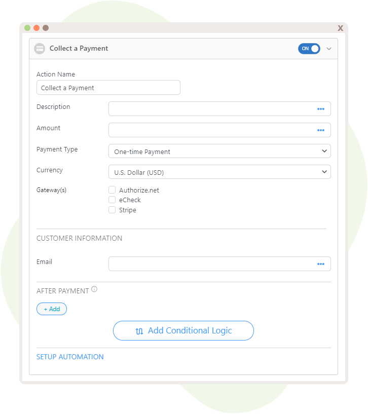 """The possible options for the Action, """"Collect a Payment"""", displaying some fields that can be mapped and currencies and gateway options."""
