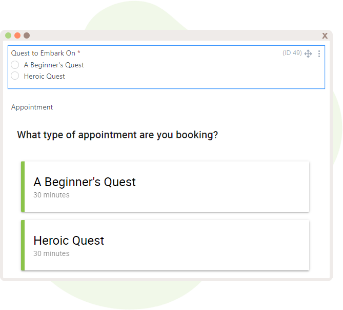 Radio buttons added into the form along with the Appointment field below