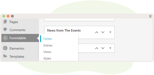 Select Forms within the WP-Admin Dashboard under Formidable