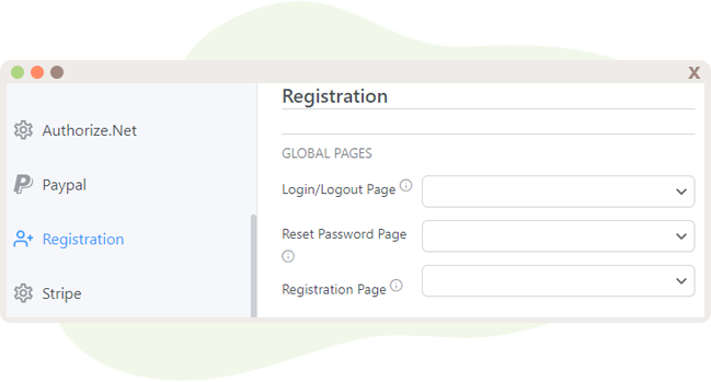 User Registration Options that include special nifty pages.
