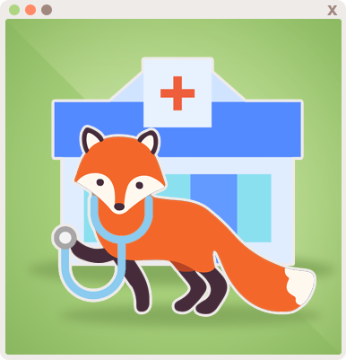 Foxy is ready to check in patients and provide health checkups!