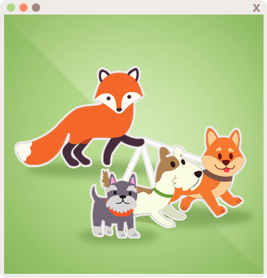 Foxy walking some dogs for the Dog Walker Appointment!