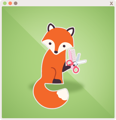 Foxy wielding scissors and a comb for Hair Styling Appointments!