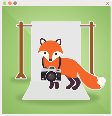 Foxy ready to take photos for clients!